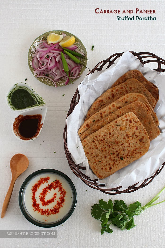 Spusht | Cabbage stuffed paratha with paneer