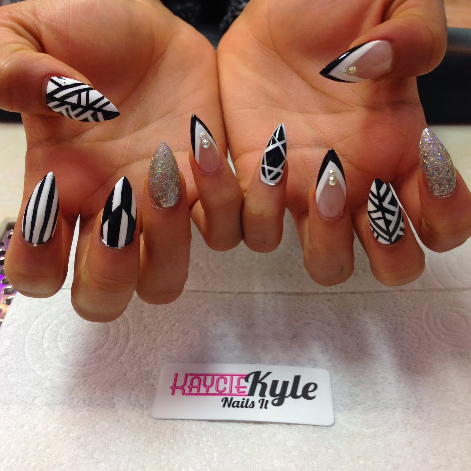 White Stiletto Nail Designs
