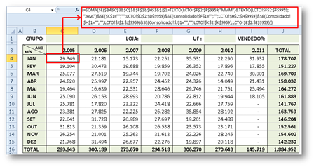 Fórmulas, Excel, planilha