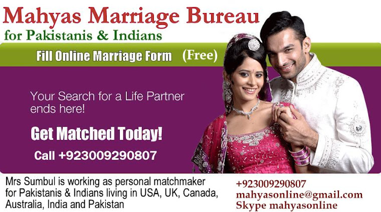 Mahyas Marriage Bureau for Pakistanis and Indians in USA, UK, Canada and Dubai