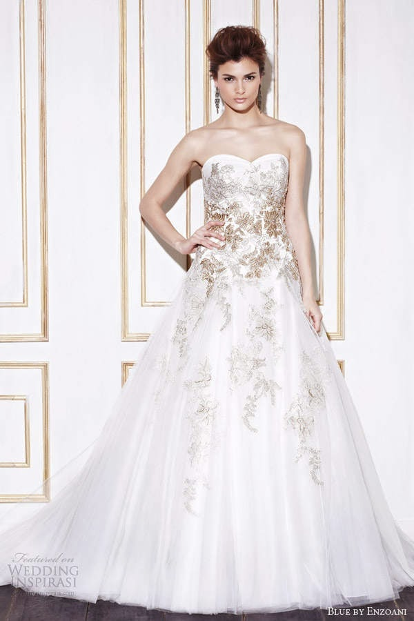 Wedding Dresses With Gold Accents - Junoir Bridesmaid Dresses