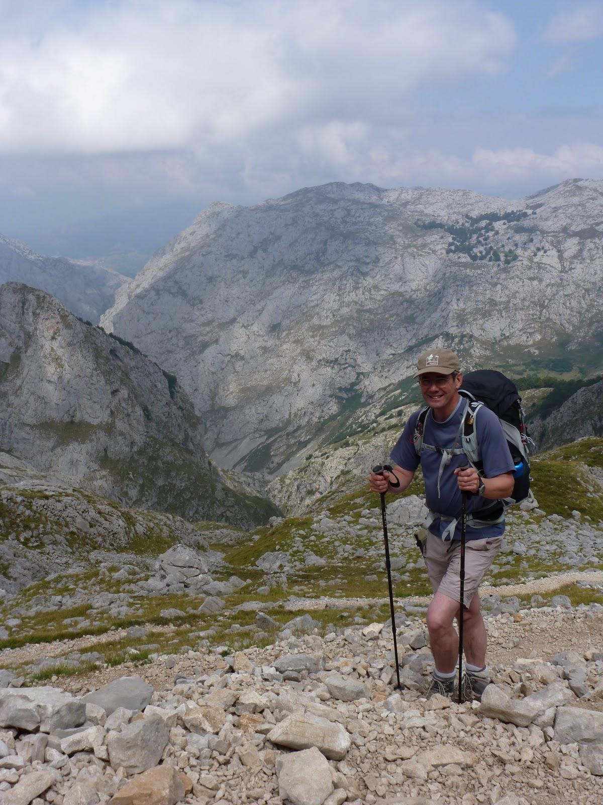 Phil climbing rocky path