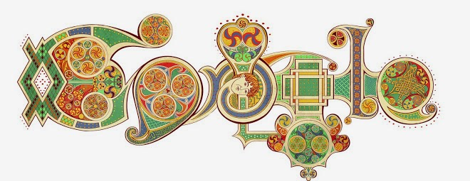 The Google logo written in illuminated script, inspired by the Book of Kells