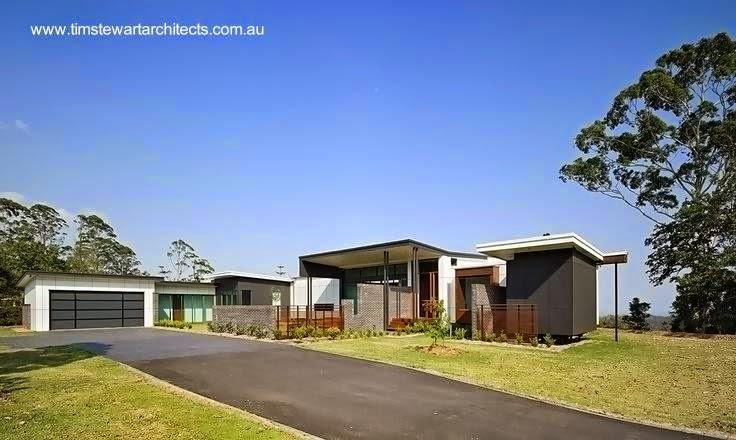 Fachadas a la calle del proyecto Mountainview en Australia una casa de campo moderna