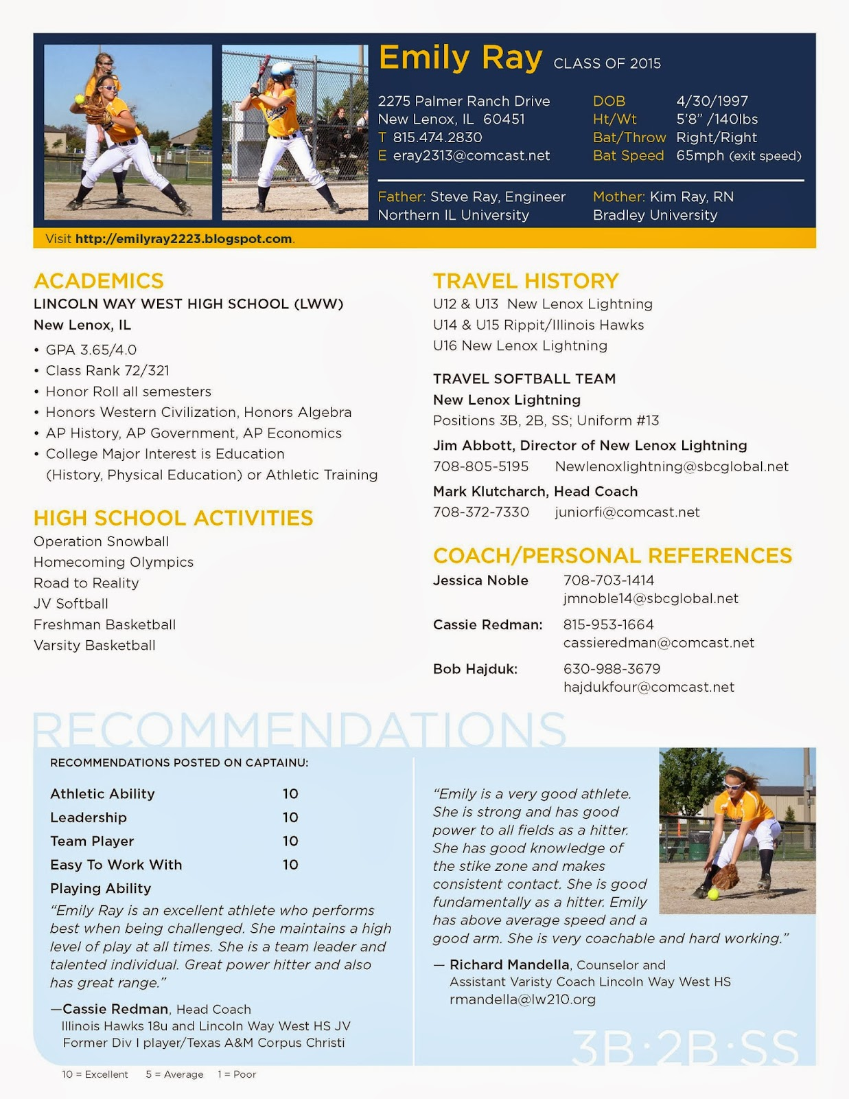 13 emily s softball resume
