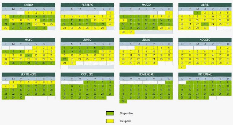 CALENDARIO DISPONIBILIDAD AÑO 2015 EUROMAR