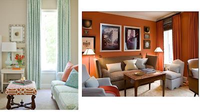 decoración naranja celeste pintura y madera