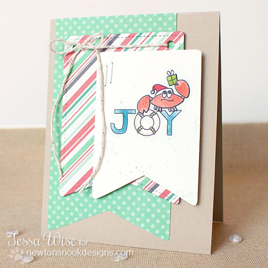 Santa Crab Holiday Card by Tessa Wise for Newton's Nook Designs | SEAsons Greetings Stamp set