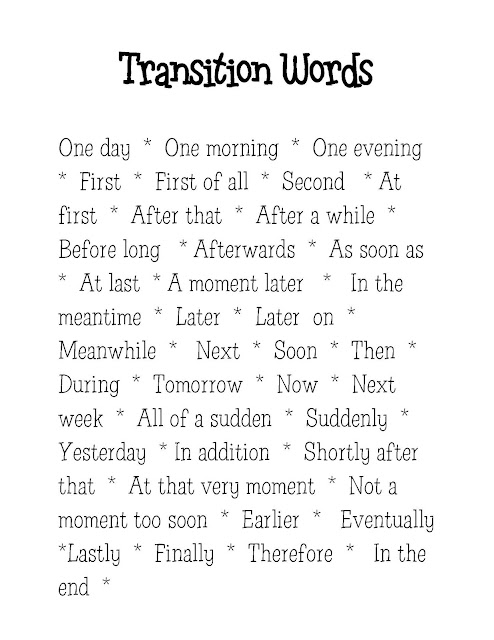 List Of Transition Words For 4Th Grade Writing