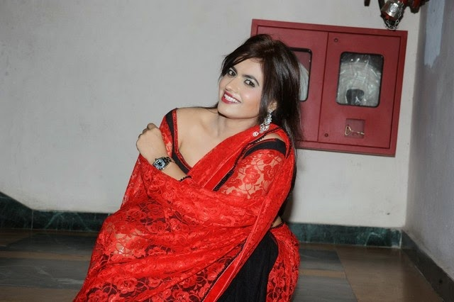 Actress Lezlie In Spicy Red Saree Stills