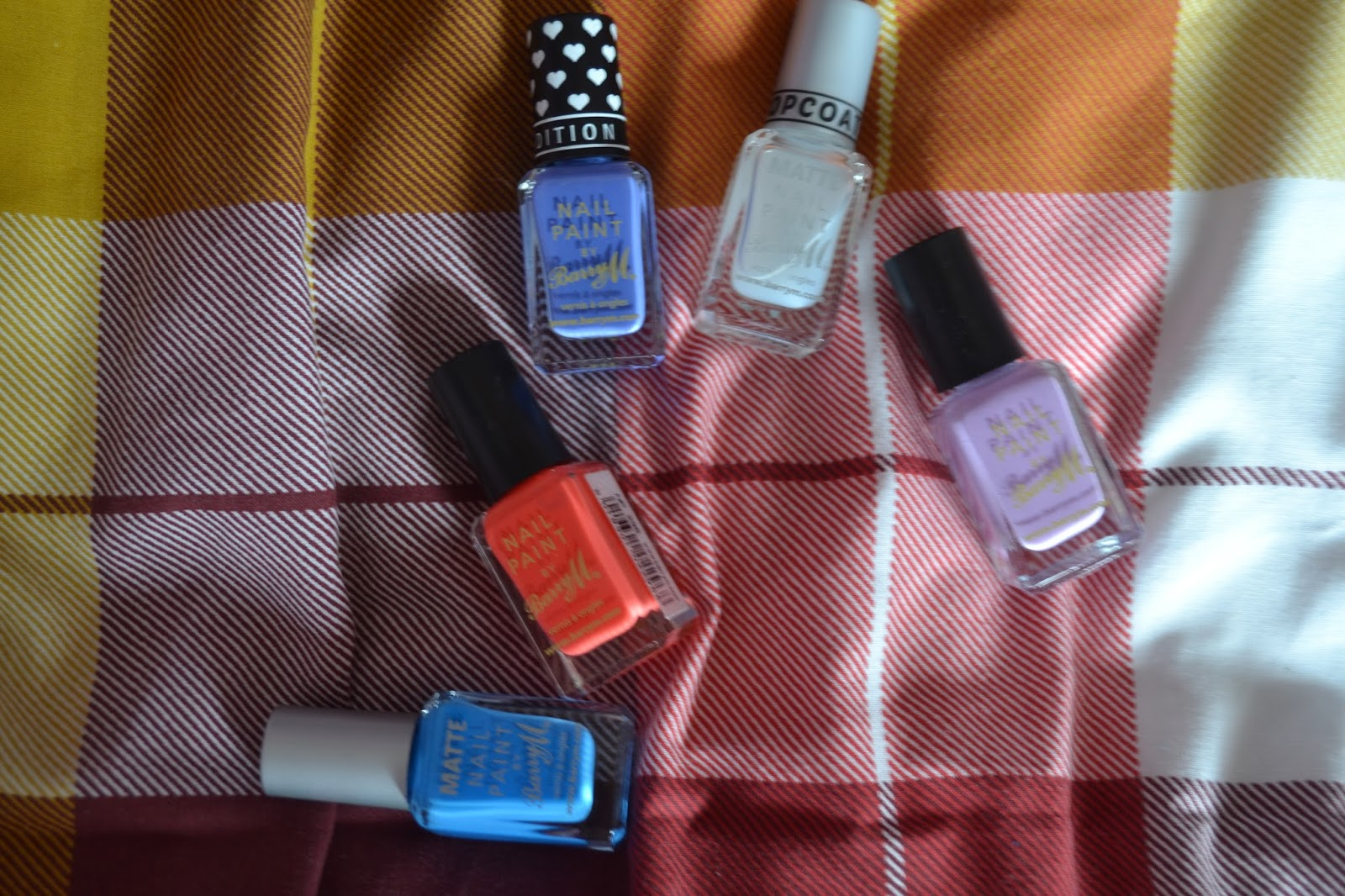 5 Barry M nail varnishes. Shades: matte topcoat, bikini blue, malibui, berry ice cream and and pink flamingo