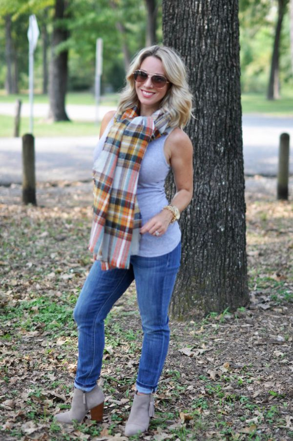 Fall Fashion - plaid scarf, tank top, skinny jeans and booties