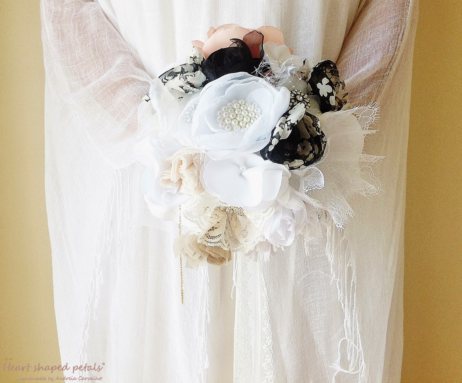 Vintage inspired brooch fabric bouquet