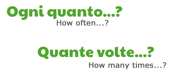 Ogni quanto? (How often?), Quante volte? (How many times?) by ab for didattichiamo.blogspot.com