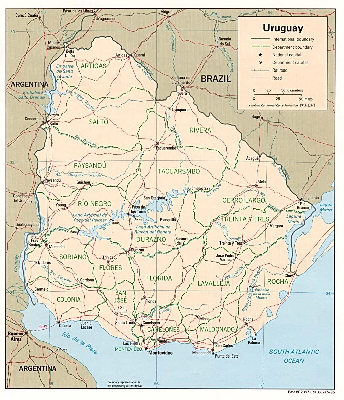 Físico mapa de uruguay