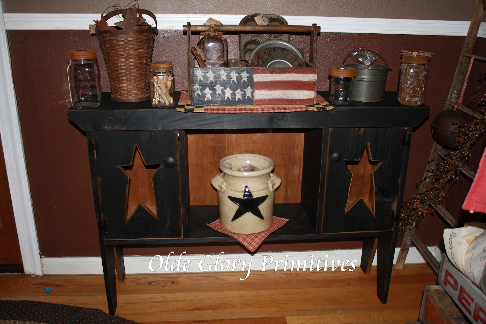 Primitive Double Door Star Cabinet