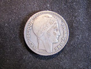 1934 France 20 Francs Silver French Coin