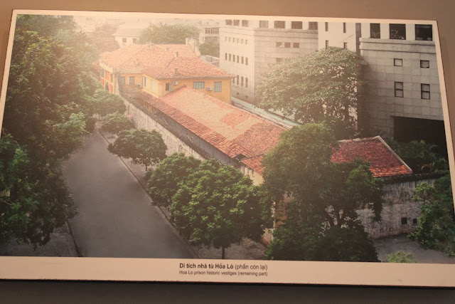 The recent view of Maison Centre (Hoa Lu Prison) from the top bird's eye view in Hanoi, Vietnam