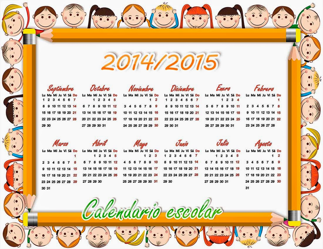 Marco creativo con lapices y niños rodeando un calendario de ciclo escolar