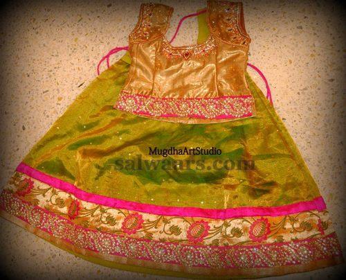 Kundan Work Pythani Silk Pavada
