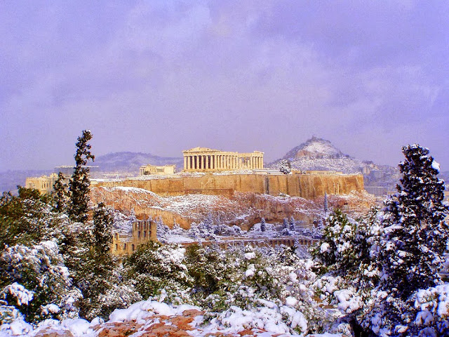Snow on the Acropolis.