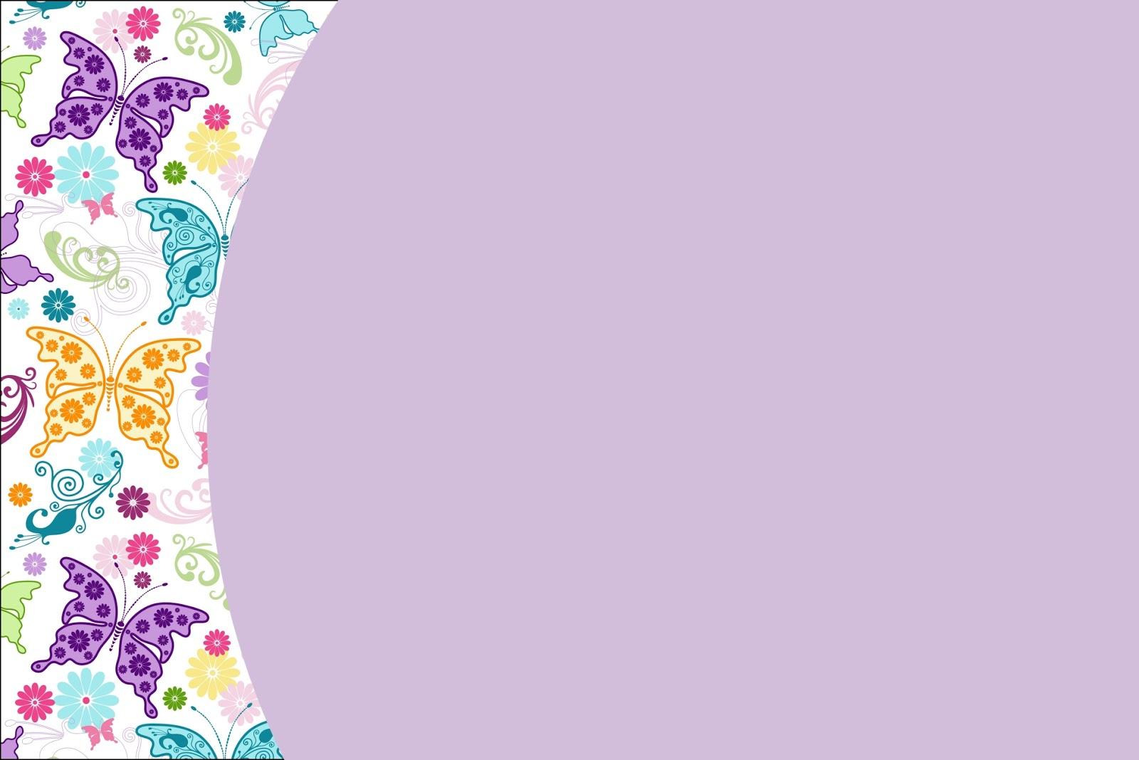 Moldura Convite E Cart  O Fundo De Borboletas Coloridas