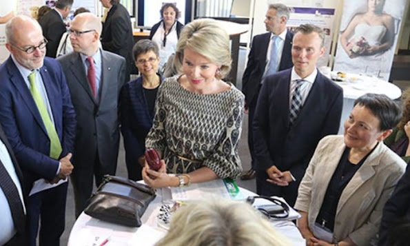 Queen Mathilde of Belgium attends the meeting of the National Immunization Programme Managers of the World Health Organization at the University of Antwerp