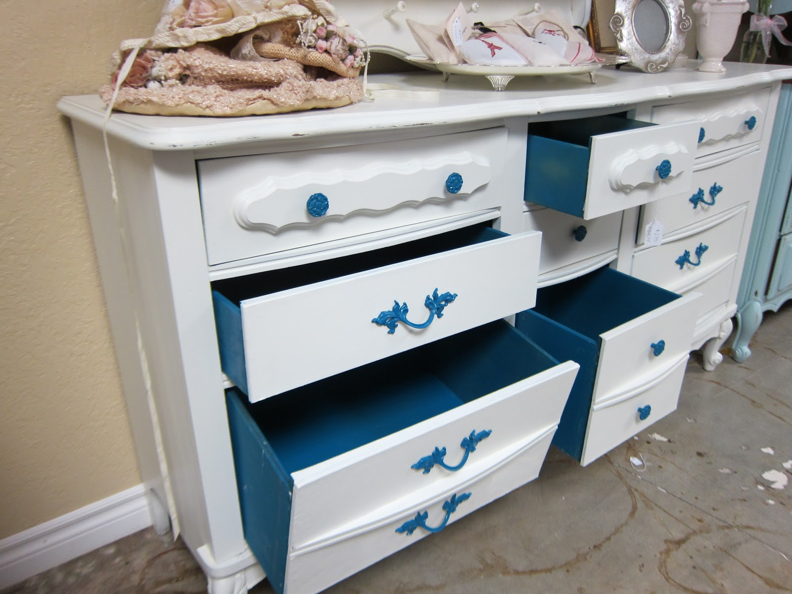 The Process Scrubbed Outside Clean And Bleached Drawers So They Are Sterile Primed Painted With Two Coats Inside Of