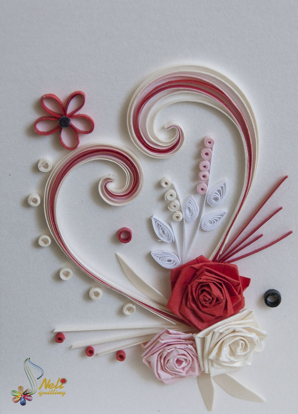 Neli quilling art quilling cards with love for Quilling paper art