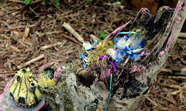 The secret fairy village at bluestone wales tree stump containing fairy dust