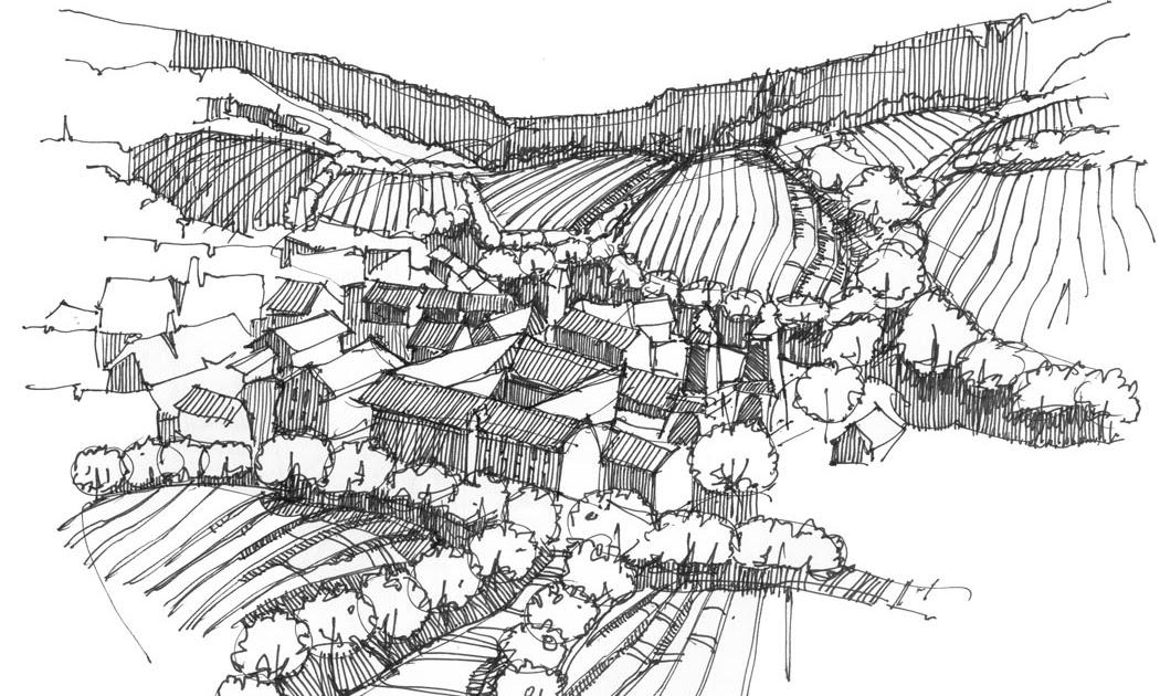 Brueggert architecture landscape sketch for Dsb landscape architects