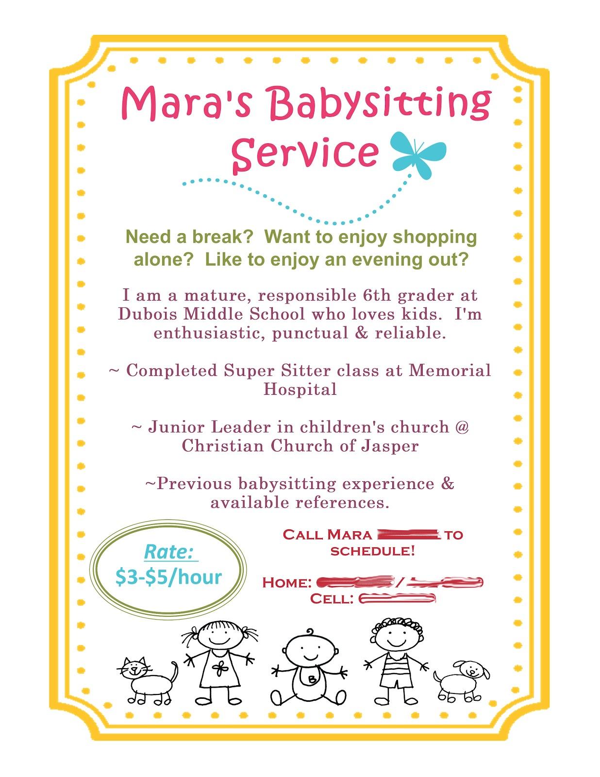 babysitting ads samples flyers examples babysitter resume resume