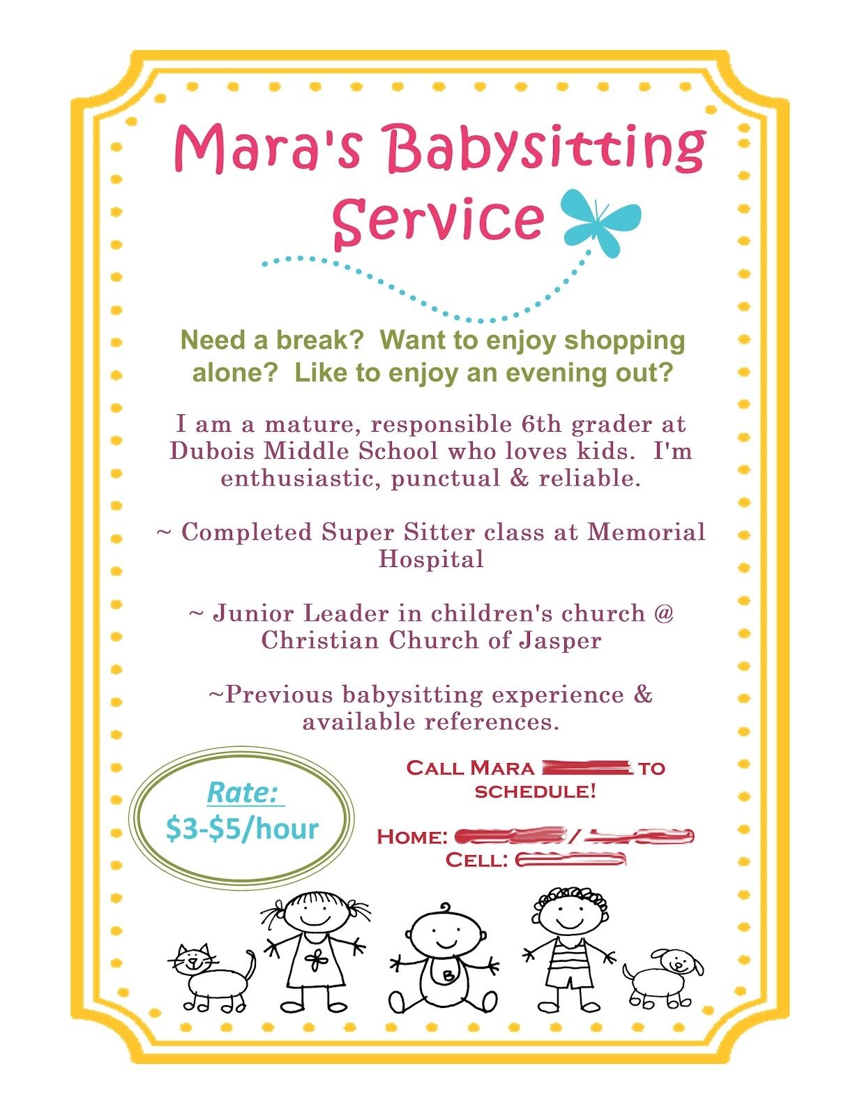 babysitting flyer using mds