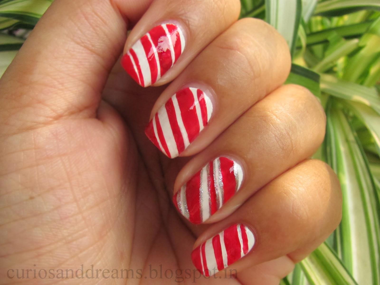 Chirstmas Nail Art designs, Candy cane nail art