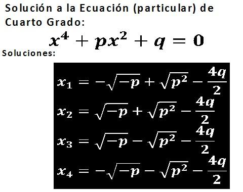 Diccionario Matematicas: Solución Ecuación de Cuarto Grado