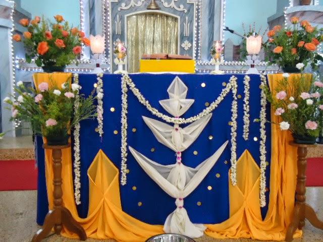 Murasancode parish murasancode altar decoration during for Altar decoration ideas