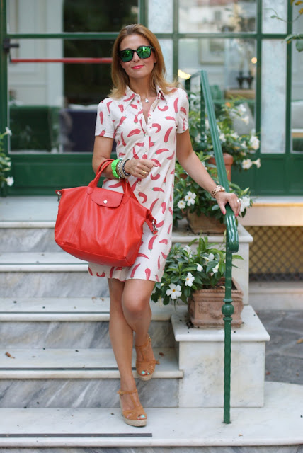 Chili peppers dress, summer outfit, summer dress, neutral wedges, Fashion and Cookies, fashion blog