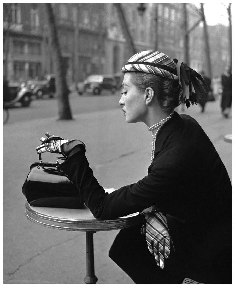 Capucine at Cafe de la Paix, Paris, 1952 ~ vintage everyday