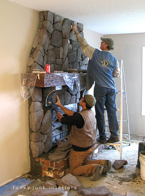 Adding cultured stone / Creating an old world stone fireplace, without massive destruction, via Funky Junk Interiors