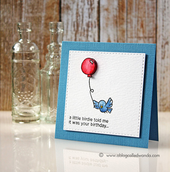 Bird Birthday Card by Wanda Guess | Newton's Birthday Flutter Stamp set by Newton's Nook Designs