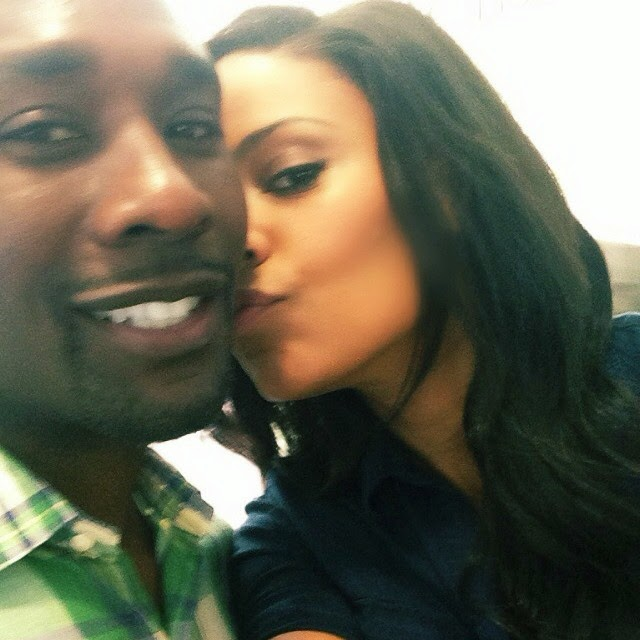 Sanaa Lathan and Morris Chestnut on set