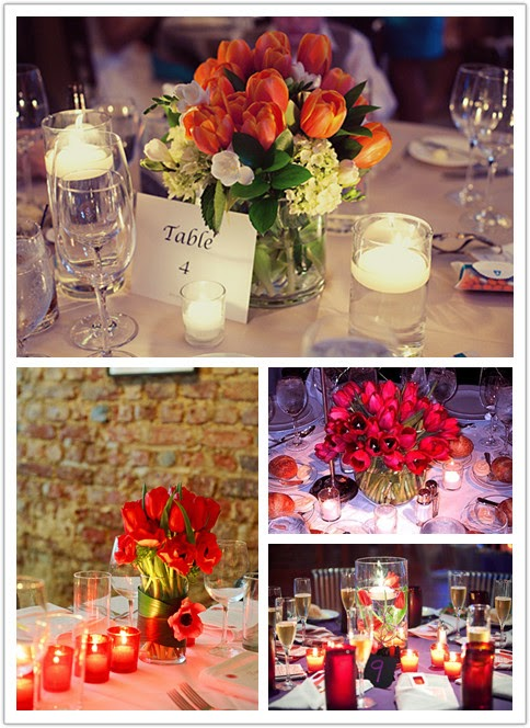 red tulips with tea light candles surrounding them on each table at the reception.