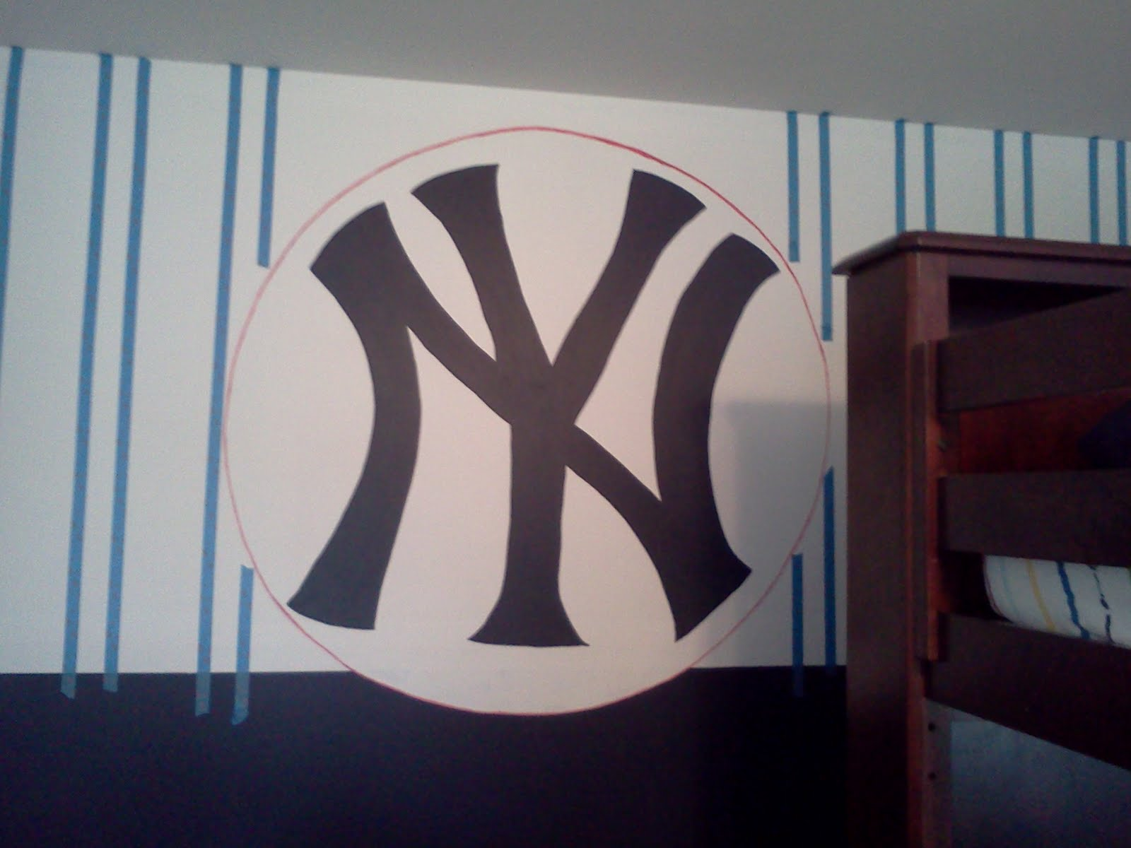 Then it came time to fill in the stripes with the navy blue. We did decide to put a small circle of red around the NY to set it apart from the ...
