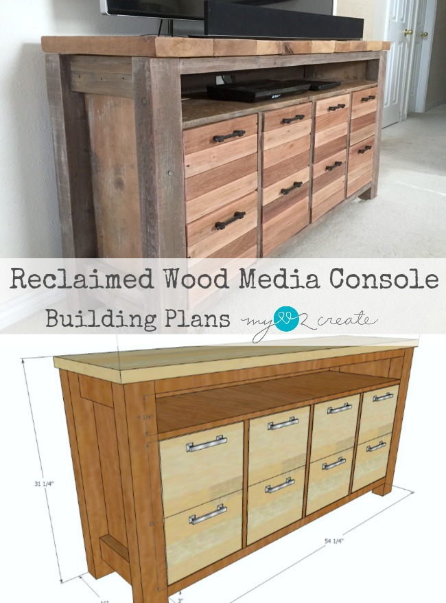 Build your own Reclaimed Wood Media Console with Free plan from MyLove2Create.