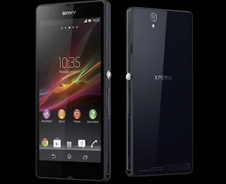 Sony xperia Z black front and back with android jelly bean