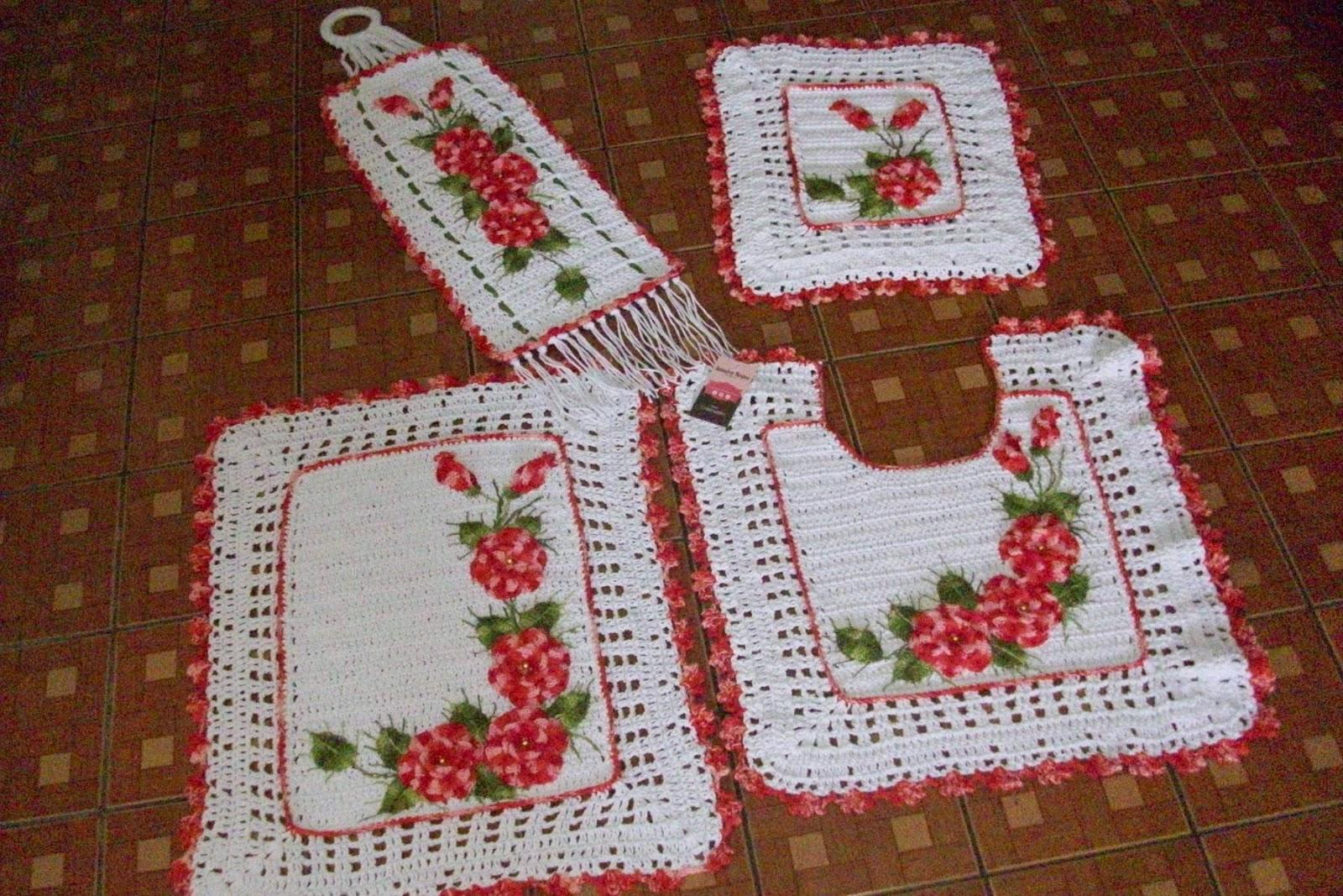 Jogos De Banheiro Vermelho E Branco : Sandra roque artesanatos jogo banheiro branco e mescla