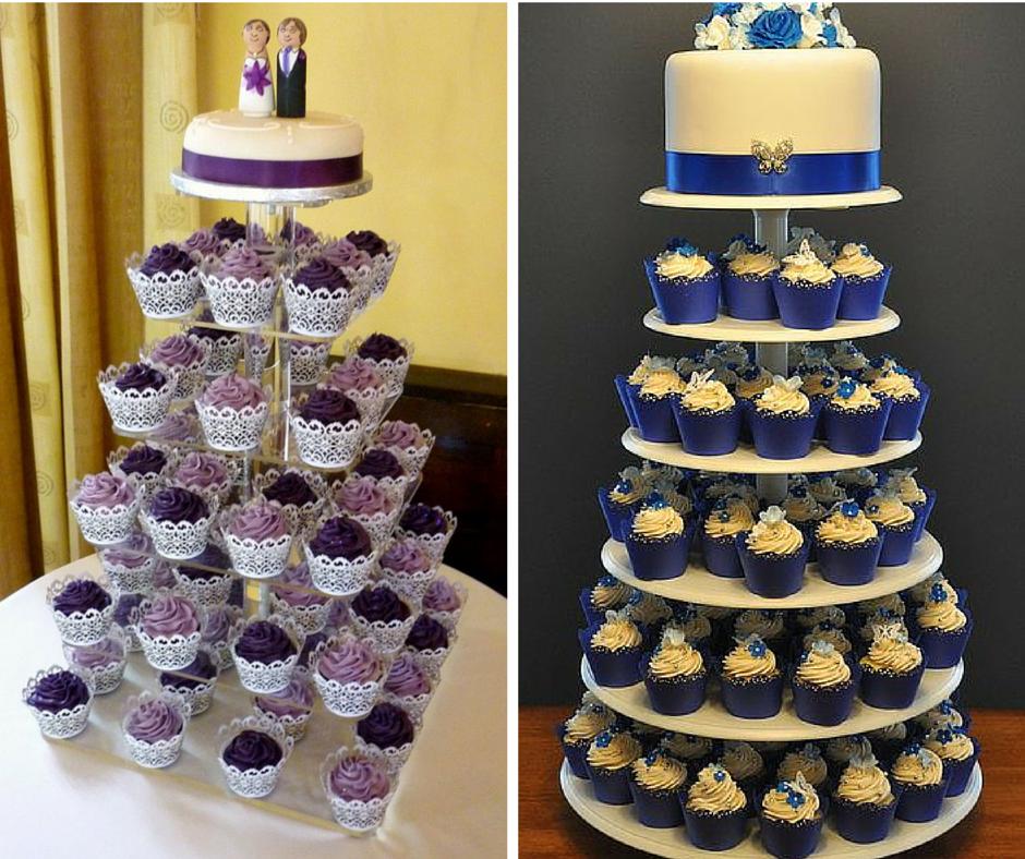 сини и лилави сватбени торти