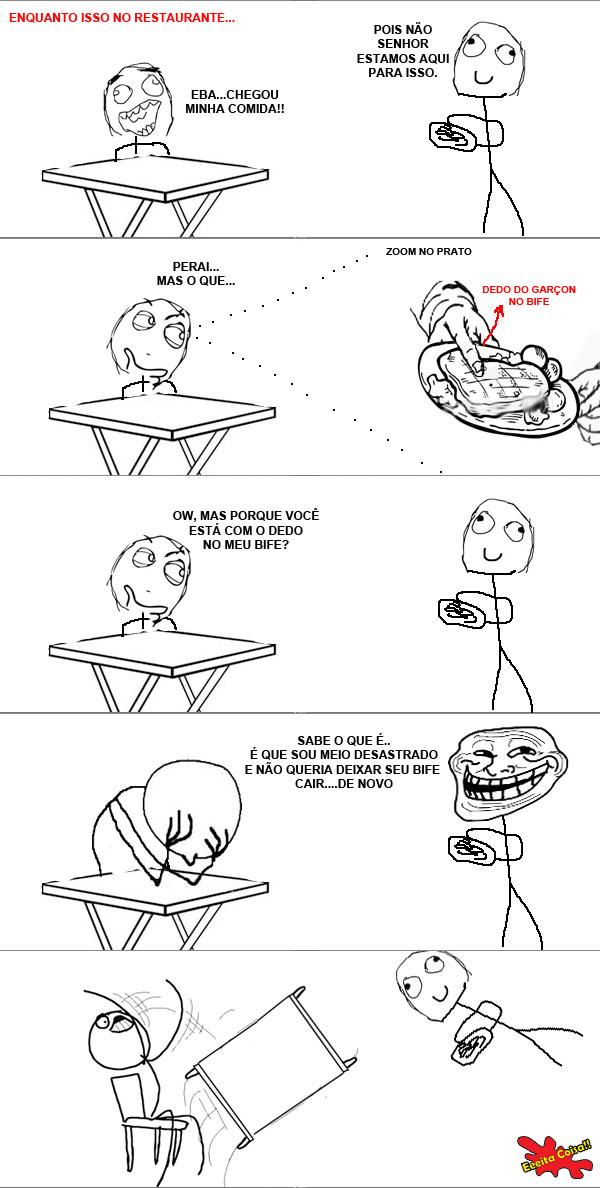 restaurante, garcon, bife, dedo na comida, meme, eeeita coisa