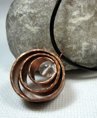 Hand Hammered Copper and Quartz Pendant