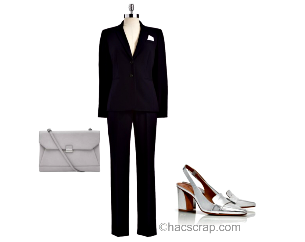 Navy Suit with Silver Slingbacks